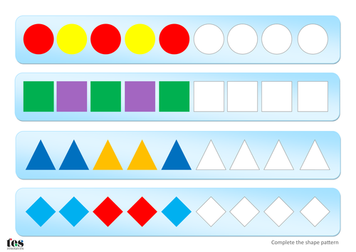 complete simple shape patterns teacch activity by tesautism