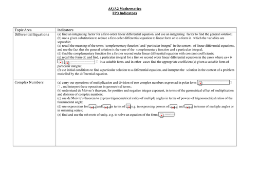 Further Pure 3 [OCR] maths questions,  indicators