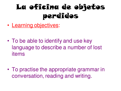 ks3 spanish lost property vocabulary by nestaun teaching resources. Black Bedroom Furniture Sets. Home Design Ideas