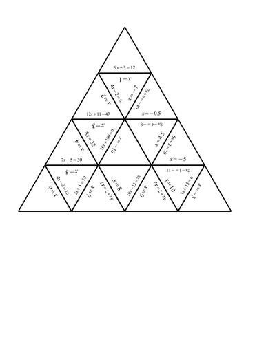 Tarsia cards for one step and two step equations by