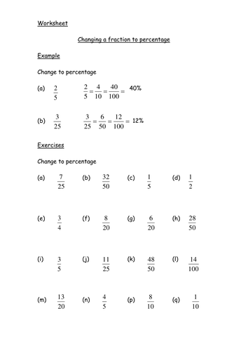 Converting fractions into percentages. by chunt86 - Teaching ...
