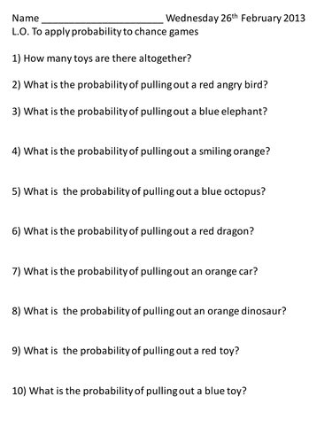 Applying probability to a chance game.