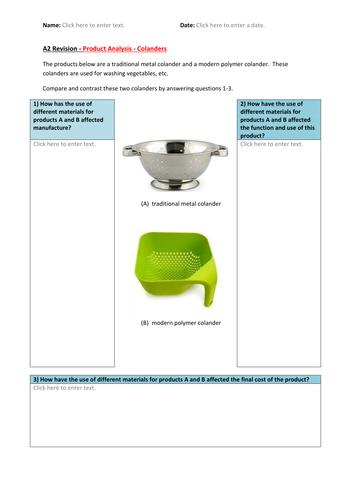 A2 Product Design - Exam Revision E-Worksheets