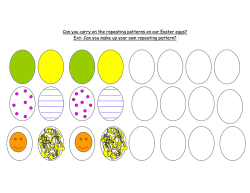 easter eggs repeating patterns by maddy2009 teaching resources tes. Black Bedroom Furniture Sets. Home Design Ideas