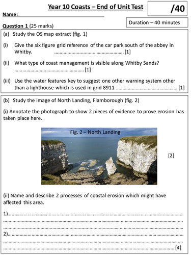 Coasts Revision Booklet and Test