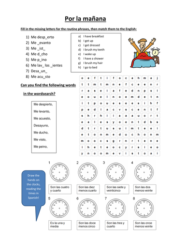 spanish routine time worksheet by hsw202 teaching resources. Black Bedroom Furniture Sets. Home Design Ideas