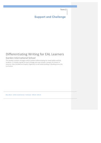 Differentiation in Writing for EAL/ESL Learners