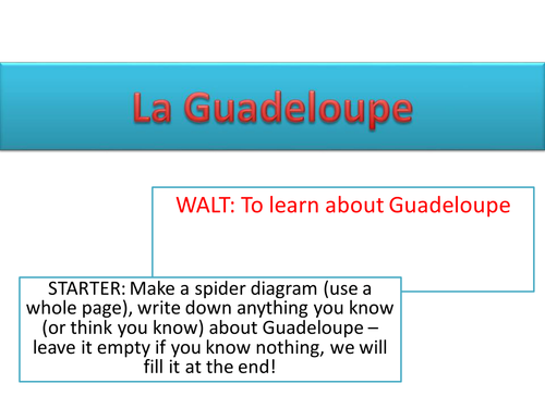 Lesson and information on Guadeloupe