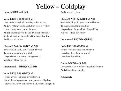 Yellow Coldplay Chords And Lyrics By Smcsweeney Teaching