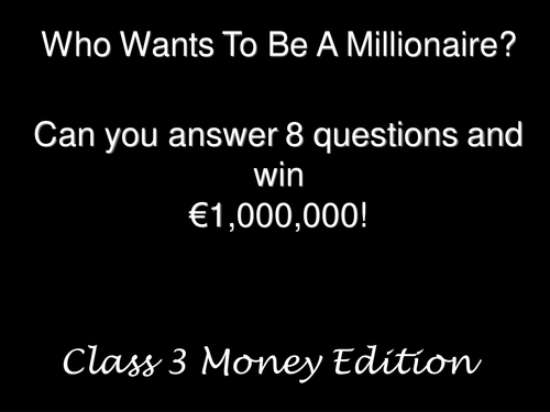 Who wants to be a millionaire with euro money