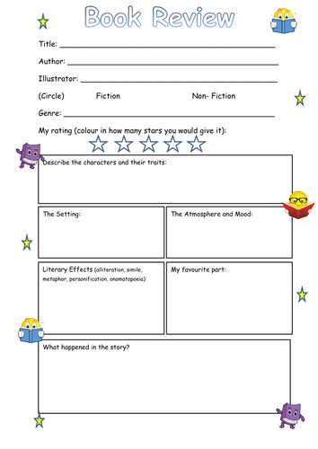 Book Review Frame Ks2 By Steffster Teaching Resources Tes