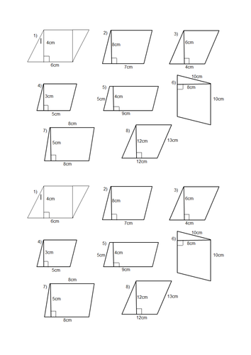 Area Of A Parallelogram Worksheet: Area of a parallelogram and trapezium lesson by Jazzyfootsteps    ,
