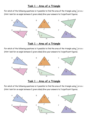 how to use sin rule for area of triangle