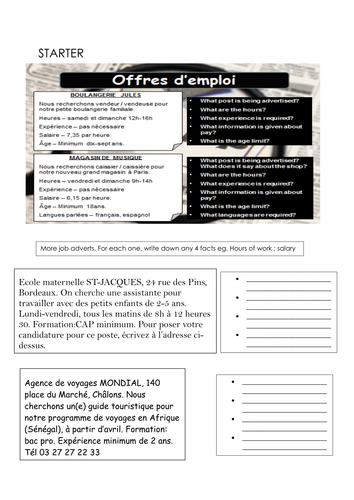 KS4 French Jobs vocabulary revision