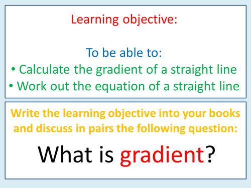 Gradient & equation of a straight line