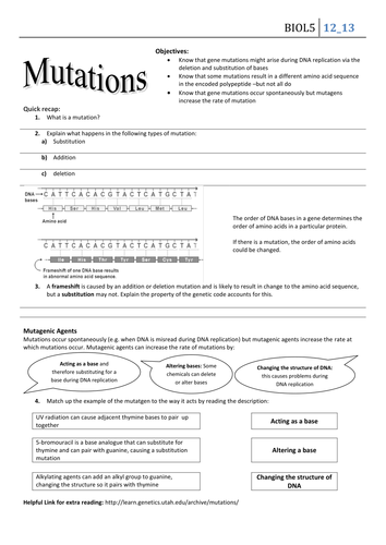 mutations worksheet high school mutations best free printable worksheets. Black Bedroom Furniture Sets. Home Design Ideas