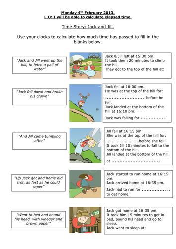 KS2 maths; Jack & Jill Time Story Elapsed Time