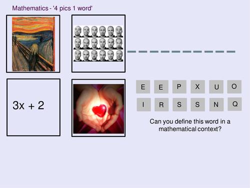 Mathematics 4 pics 1 word - Intro to Algebra