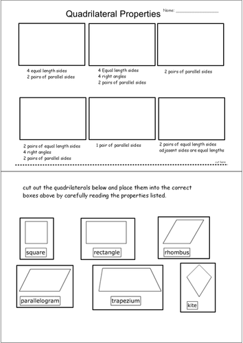Worksheets Quadrilateral Properties Worksheet properties of quadrilaterals cut stick by andytaylor125 teaching resources tes