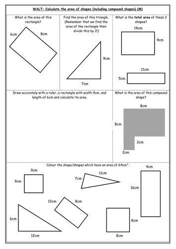 Area differentiated worksheets   Teaching Resources