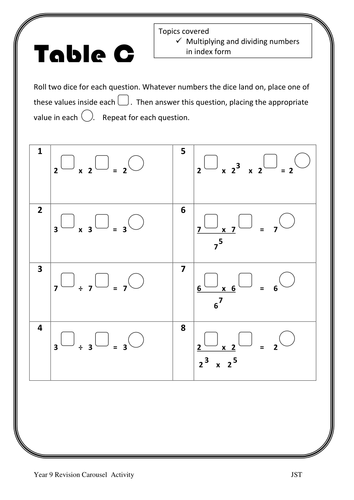 Multiplying and dividing in index form worksheet
