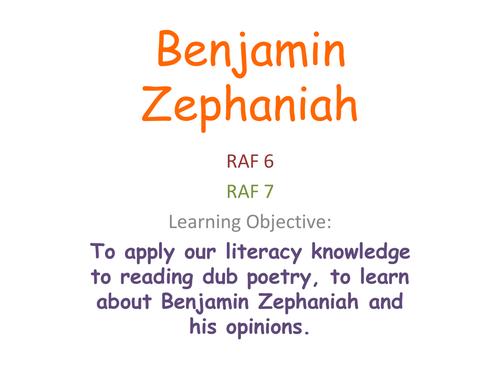 KS3 Poetry - Benjamin Zephaniah