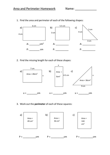 Area Perimeter Homework Sheet L5 By Fionajones88 Teaching
