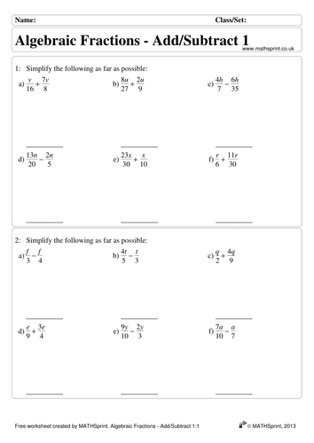 Worksheets Algebraic Fractions Worksheet algebraic fractions practice questions solutions by transfinite teaching resources tes