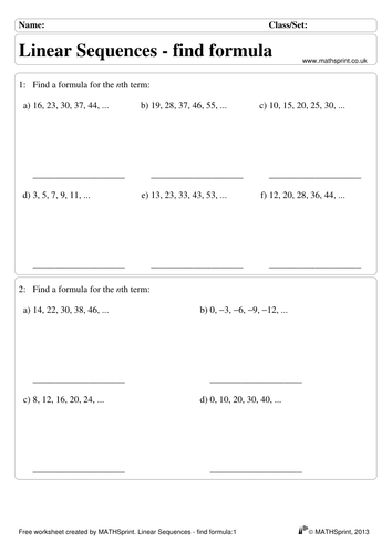 Linear Sequences practice questions + solutions