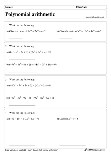 Polynomials practice questions + solutions by transfinite ...