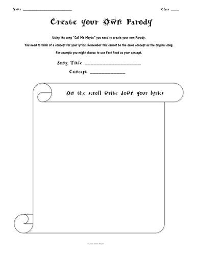 Parody Worksheet