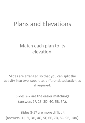 Elevation Plan Maths : Plans and elevations d shapes at ks activities