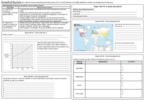 Aqa B Revision Worksheet Tourism Module By Seasthemoment border=
