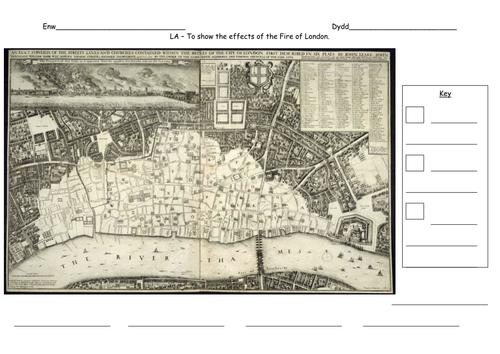 Great Fire Of London Map.Great Fire Of London Plotting The Fire By Carlfarrant88 Teaching