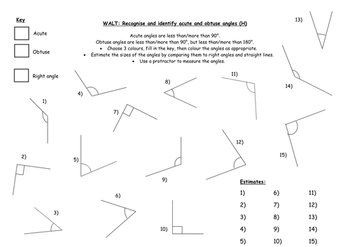 Recognising and Identifying Angles by IndiaRose26 Teaching – Identifying Angles Worksheet