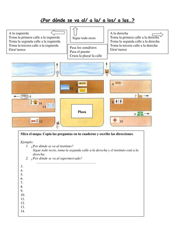 ks4 spanish asking for directions town by aventura teaching resources tes. Black Bedroom Furniture Sets. Home Design Ideas