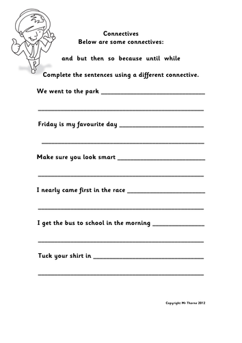 Connectives Activity Sheet