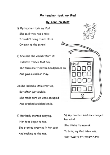Kenn Nesbitt - 'My teacher took my iPod' poem by ...