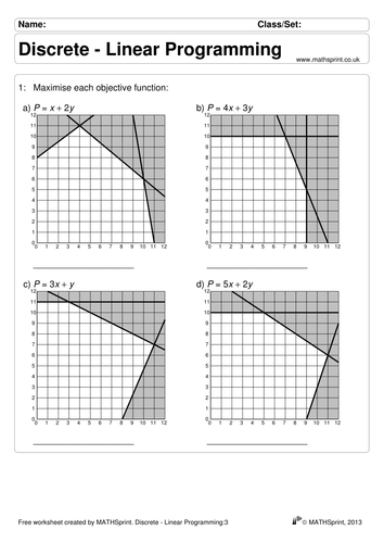 Printables Linear Programming Worksheet advanced decision teaching resources linear programming tes practice questions solutions
