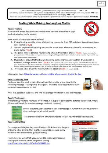 The Maths of Texting While Driving