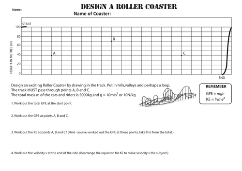 rollercoaster examples to calculate gpe and ke by ogrinter teaching resources tes. Black Bedroom Furniture Sets. Home Design Ideas