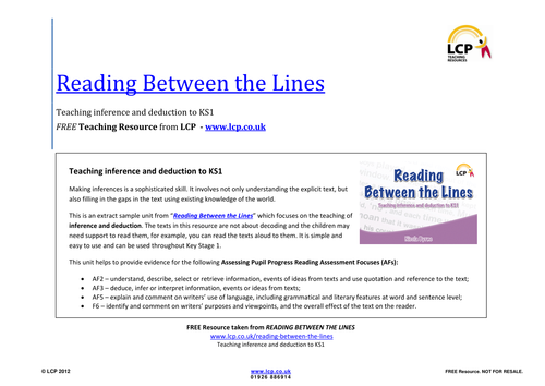 Year 1 and Year 2 Inference and deduction: Reading Between the Lines