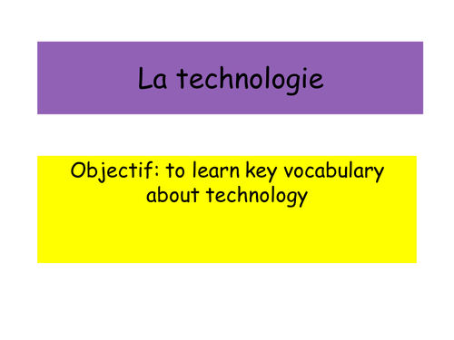 Edexcel GCSE French: Technology