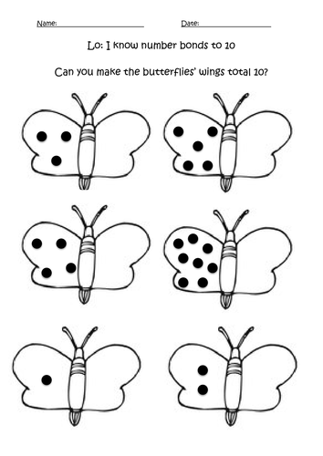 Number Bonds to 9 and 10 Worksheets by MissCoombs - Teaching ...