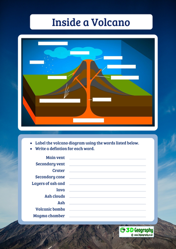 Volcano Diagram To Label By Idj Teaching Resources Tes