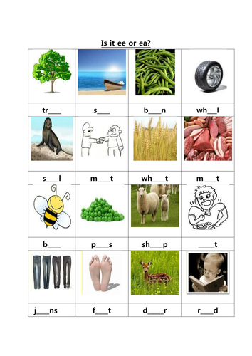 Ee Ea Phonics Worksheet By Danny31 Teaching Resources Tes