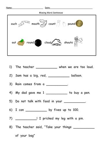 ou digraph 1st workheet