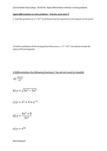 Practice work sheet - Differentiation