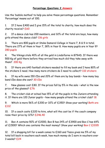 Level 4 & 5 Percentage Word Problems Sheet 2 by rich4ruth ...