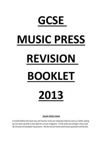 AQA Music Press Revision Guide by ThereAreBunniesInMyHead